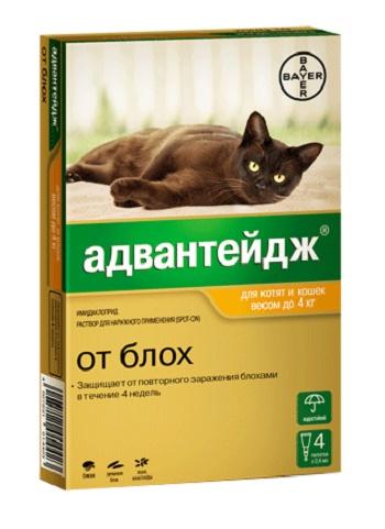 Bayer Advantage капли от блох для кошек весом менее 4 кг