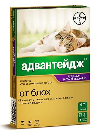 Bayer Advantage капли от блох для кошек весом свыше 4 кг