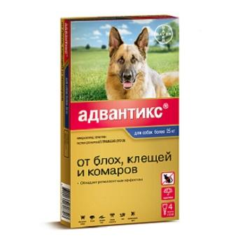Bayer Advantix капли от блох и клещей для собак весом от 25 до 40 кг