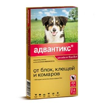 Bayer Advantix капли от блох и клещей для собак весом от 10 до 25 кг