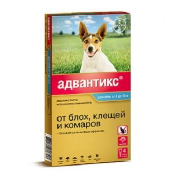 Bayer Advantix капли от блох и клещей для собак весом от 4 до 10 кг