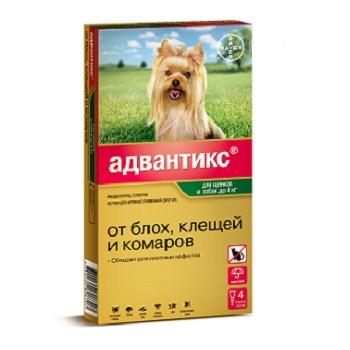 Bayer Advantix капли от блох и клещей для собак весом до 4 кг