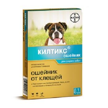 Bayer Kiltix ошейник от блох и клещей для средних собак 48 см