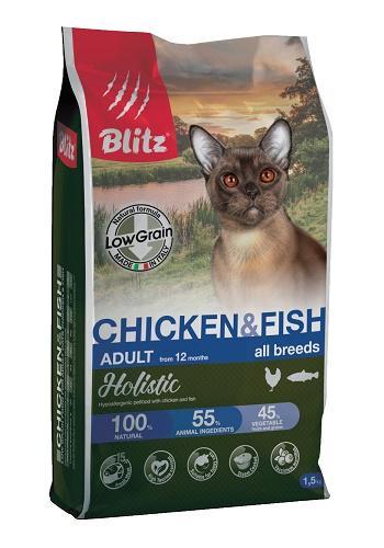 Blitz Holistic Adult Chicken & Fish низкозерновой сухой корм для кошек с курицей и рыбой
