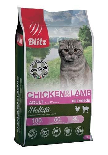 Blitz Holistic Adult Chicken & Lamb низкозерновой сухой корм для кошек с курицей и ягненком