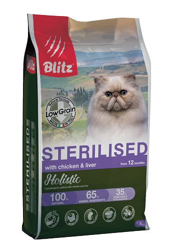 Blitz Holistic Sterilised Chicken & Liver низкозерновой сухой корм для кошек с курицей и печенью