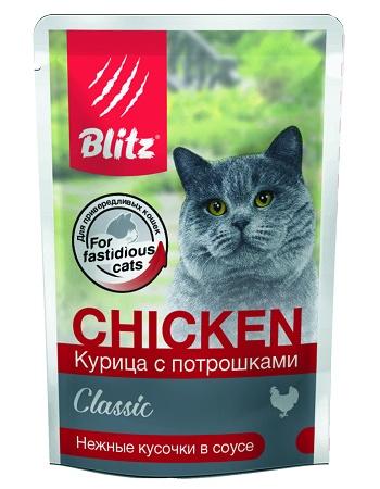 Blitz Classic Chicken влажный корм для кошек Курица с потрошками