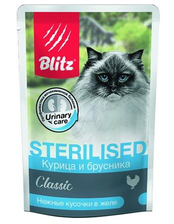 Blitz Classic Sterilised влажный корм для кошек Курица с брусникой