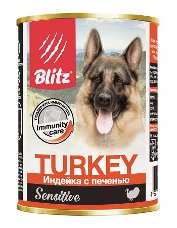 Blitz Sensitive Turkey влажный корм для собак Индейка с печенью