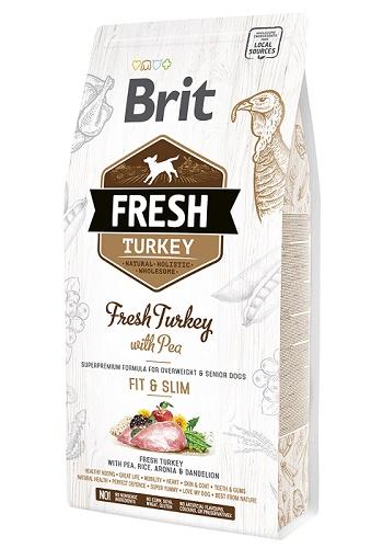 Brit Fresh Turkey Fit&Slim сухой корм для малоактивных и пожилых собак с индейкой