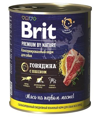 Brit Premium by Nature консервы для собак Говядина и пшено
