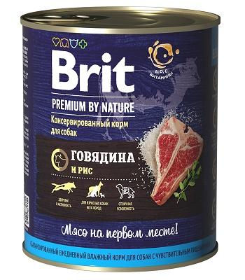 Brit Premium by Nature консервы для собак Говядина и рис