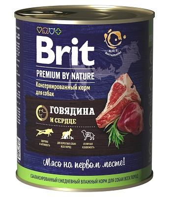 Brit Premium by Nature консервы для собак Говядина и сердце