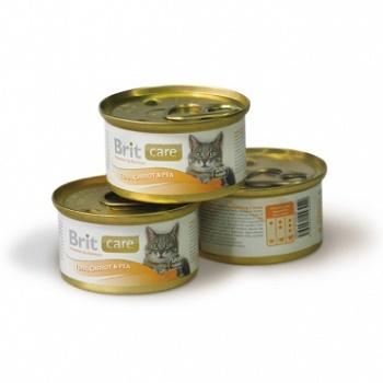 Brit Care консервы для кошек с тунцом морковью и горошком