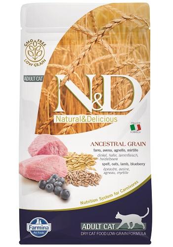 Farmina N&D Low Grain Adult сухой корм для кошек с ягненком и черникой