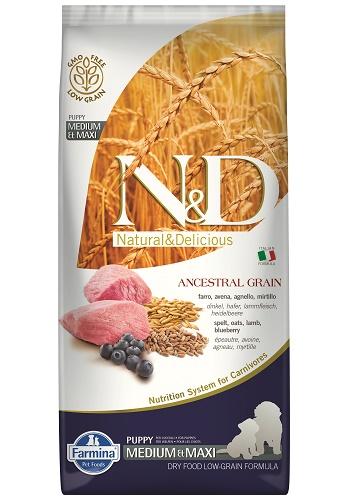 Farmina N&D Low Grain Puppy Medium&Maxi сухой корм для щенков средних и крупных пород с ягненком и черникой