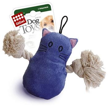 GiGwi игрушка для собак Кот с пищалкой 15 см (75034)