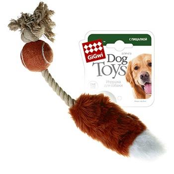 GiGwi игрушка для собак Лисий хвост с пищалкой 40 см (75074)