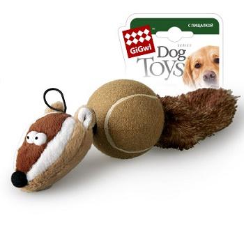 GiGwi игрушка для собак Барсук с 2-мя пищалками 32 см (75075)