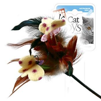 GiGwi игрушка для кошек Дразнилка на стеке с бабочками 43 см (75081)