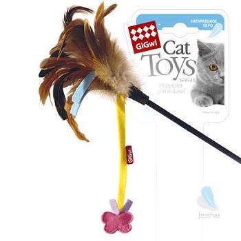 GiGwi игрушка для кошек Дразнилка на стеке с бабочкой 51 см (75246)