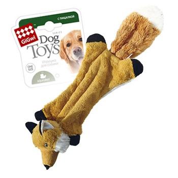 GiGwi игрушка для собак Шкурка-лиса с 2-мя пищалками 49 см (75261)