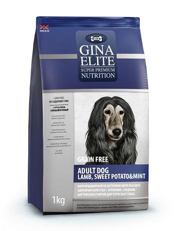 Gina Elite Adult Lamb & Mint Grain Free беззерновой сухой корм для взрослых собак с ягненком