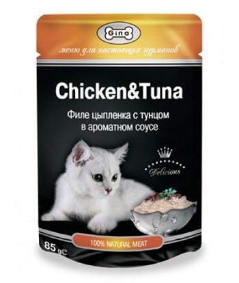 Gina консервы для кошек в пауче с тунцом и цыпленком