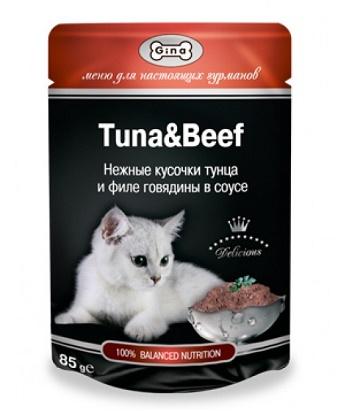Gina консервы для кошек в пауче с тунцом и говядиной