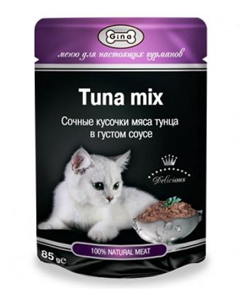Gina консервы для кошек в пауче тунец микс