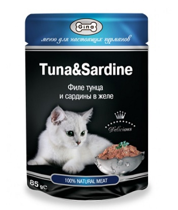 Gina консервы для кошек в пауче с тунцом и сардинами
