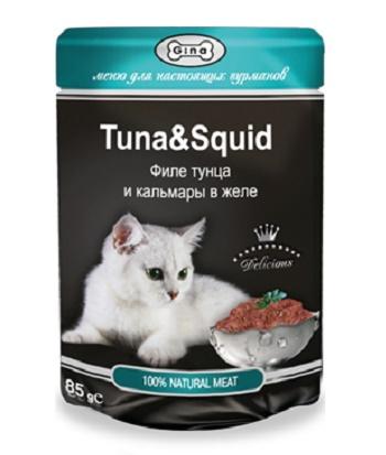 Gina консервы для кошек в пауче с тунцом и кальмаром
