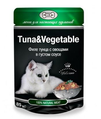 Gina консервы для кошек в пауче с тунцом и овощами