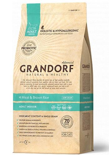Grandorf 4 Meat & Brown Rice Indoor сухой корм для взрослых кошек SALE