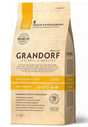 Grandorf 4 Meat & Brown Rice Sterilized сухой корм для взрослых стерилизованных кошек
