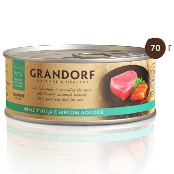 Grandorf консервы для кошек Филе тунца с мясом лосося