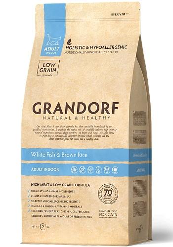 Grandorf Indoor White Fish & Rice сухой корм для взрослых кошек