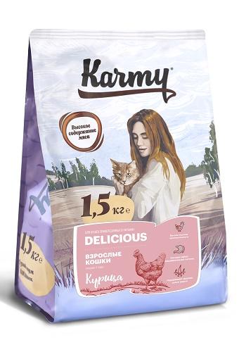Karmy Delicious Adult сухой корм для привередливых кошек с курицей
