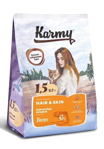 Karmy Hair&Skin сухой корм для длинношерстных кошек с лососем