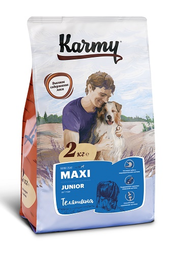 Karmy Maxi Junior сухой корм для щенков крупных пород с телятиной