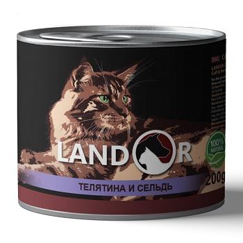Landor Senior Calf & Herring влажный корм для пожилых кошек с телятиной и сельдью