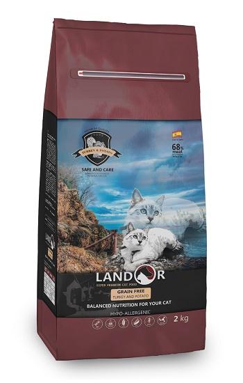 Landor GF Adult Turkey беззерновой сухой корм для кошек с индейкой и бататом
