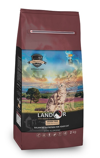 Landor GF Hairball & Weight Control беззерновой сухой корм для кошек с ягненком и бататом