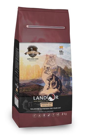 Landor Indoor сухой корм для домашних кошек с уткой и рисом