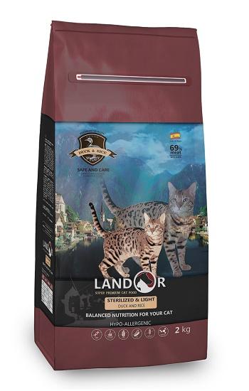 Landor Sterilized & Light сухой корм для стерилизованных кошек с уткой и рисом