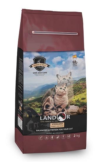 Landor Sterilized & Light сухой корм для стерилизованных кошек с кроликом и рисом
