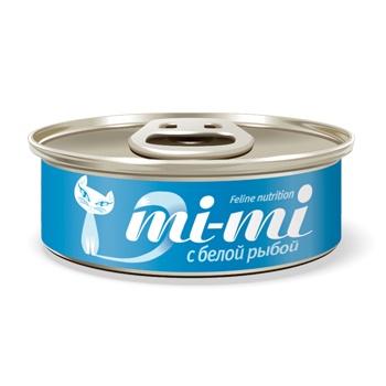 Mi-mi консервы для кошек и котят с белой рыбой
