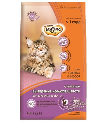 Мнямс Hairball & Indoor сухой корм для кошек с ягненком