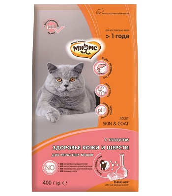 Мнямс Skin & Coat сухой корм для кошек с лососем