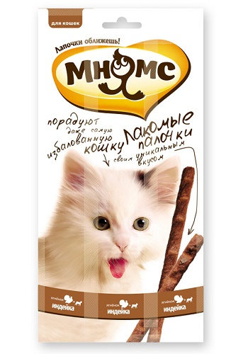 Мнямс лакомства для кошек Лакомые палочки с индейкой и ягненком